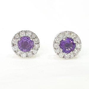 Natural Amethyst Stone Round Cut Halo Diamond Stud Earrings