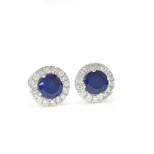 Blue Stone Round Cut Halo Diamond Stud Earrings