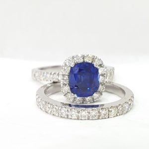 Blue Stone Cushion Cut - Diamond Bridal Wedding Set Engagement Ring