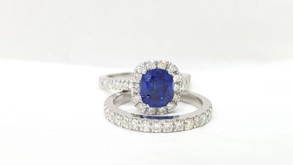 Blue Stone Cushion Cut - Diamond Bridal Wedding Set Engagement Ring