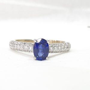 Oval-Cut Blue Sapphire & Diamond Ring