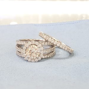 Round Brilliant Halo Engagement Ring & Wedding Ring (Bridal Set)