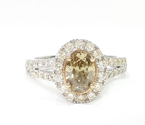 Natural Champagne Diamond Halo Engagement Ring Oval Cut
