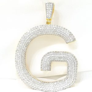 YELLOW GOLD CUSTOM DIAMOND INITIAL G LETTER