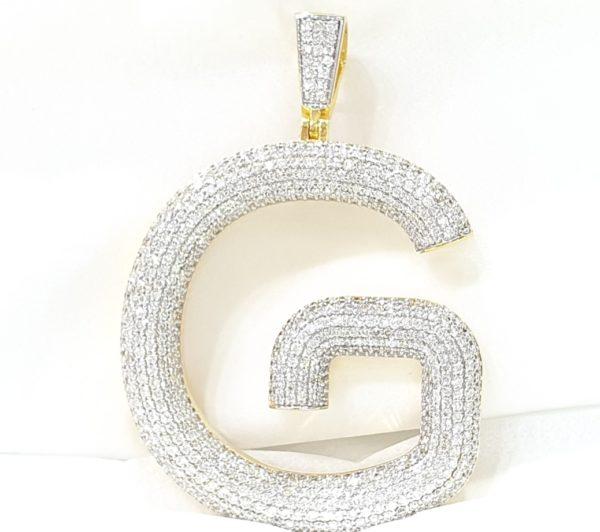 YELLOW GOLD CUSTOM DIAMOND INITIAL G LETTER