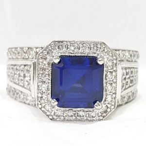 Square-Cut Blue Stone & Diamond Ring