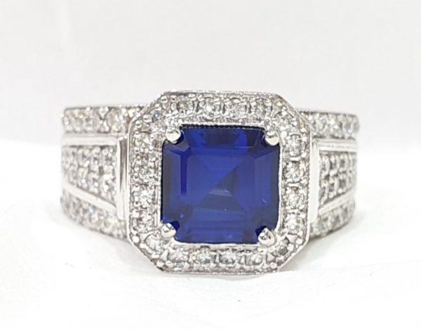 Square-Cut Blue Stone & Diamond Ring