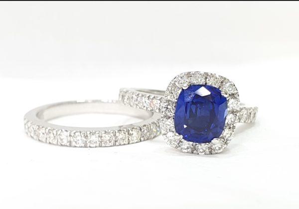 Halo Engagement Ring & Wedding Ring (Bridal Set)