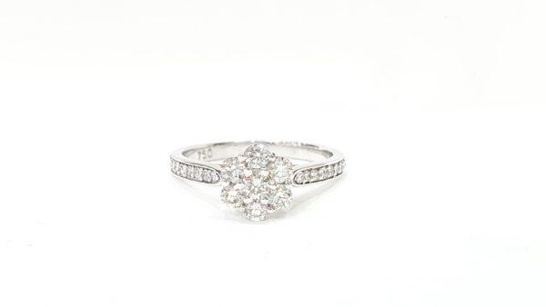 ROUND BRILLIANT CUT CLUSTER DIAMOND RING