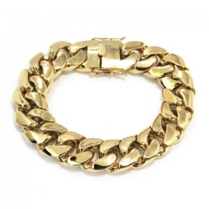 Cuban Link Yellow Gold Solid Bracelet