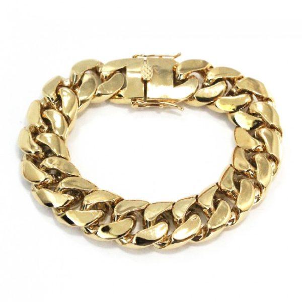 Cuban Link Yellow Gold Solid Bracelet