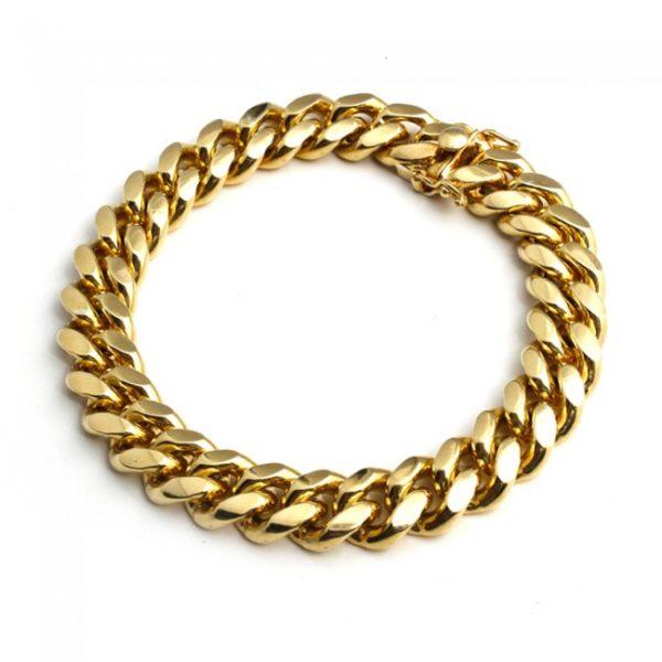 Yellow Gold Cuban link Solid Bracelet