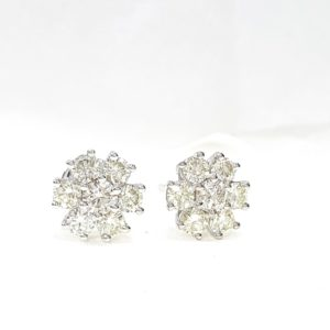 7 Stone Round Brilliant Cut Diamond Prong-Set Stud Earrings