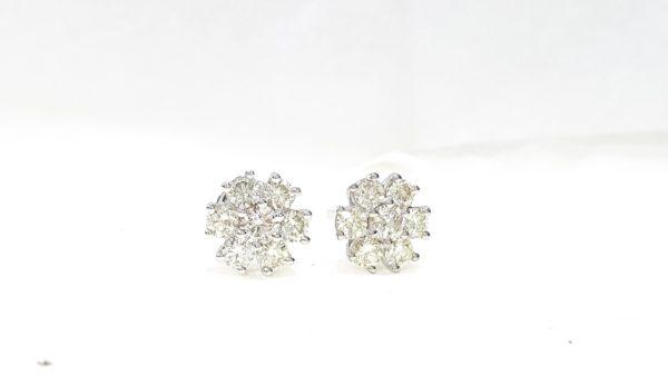 7 Stone Round Brilliant Cut Diamond Prong-Set Stud Earrings