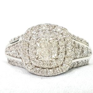 CUSHION DOUBLE HALO RING WHITE GOLD