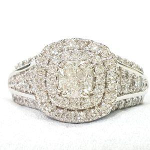 CUSHION DOUBLE HALO RING WHITE GOLD