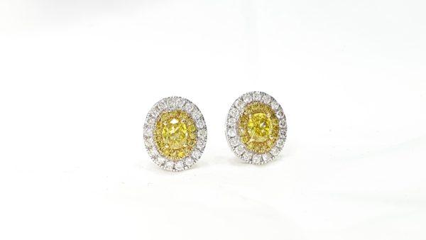OVAL CUT DOUBLE HALO DIAMOND STUD EARRINGS