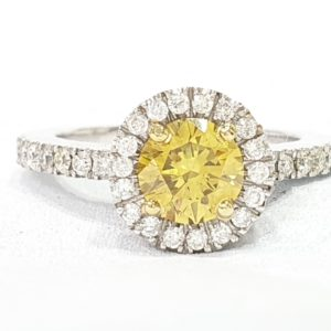 Round Cut Fancy Yellow Diamond Ring with Halo 18K White Gold