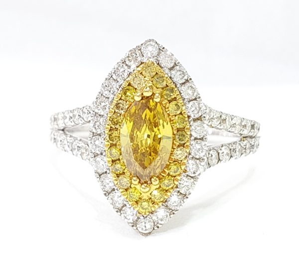 FANCY YELLOW MARQUISE DIAMOND DOUBLE HALO RING