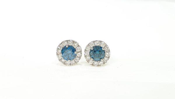 Fancy Blue Diamond Round Cut Halo Diamond Stud Earrings