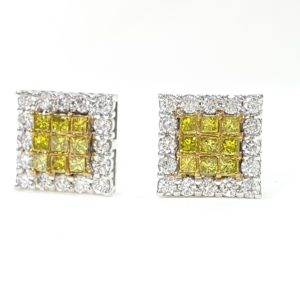 Invisible Set Princess Cut White & Yellow Diamond Stud Earrings