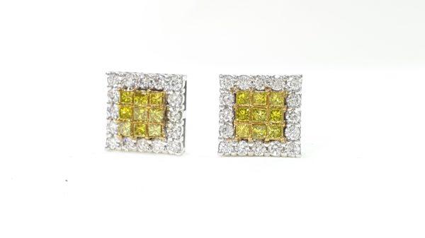 Invisible Set Princess Cut White & Yellow Diamond Stud Earrings