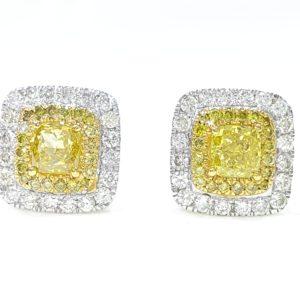CUSHION CUT DOUBLE HALO DIAMOND STUD EARRINGS