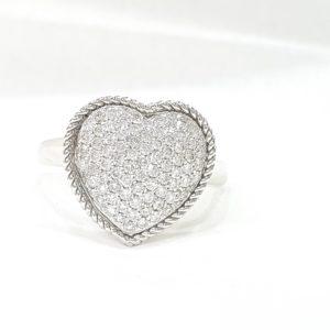 Modern Heart Shape Diamonds Ring Pave Set