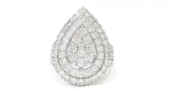 Pear Shape Cluster Natural Diamond Ring