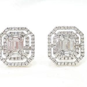 Emerald Shape Diamond Halo Pie Cut Stud Earrings