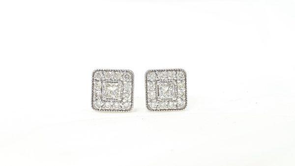 Princess-Cut Diamond Halo Stud Earrings