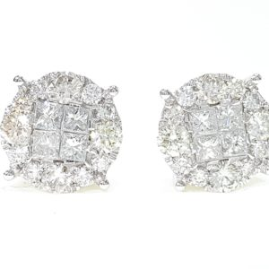 Mens/Ladies White Or Yellow Gold Princess Cut Diamond Round Stud Earrings