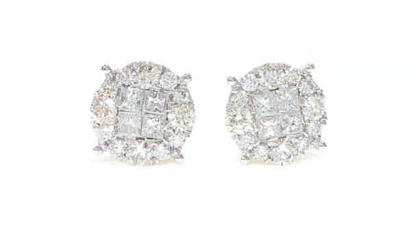 Mens/Ladies White Or Yellow Gold Princess Cut Diamond Round Stud Earrings