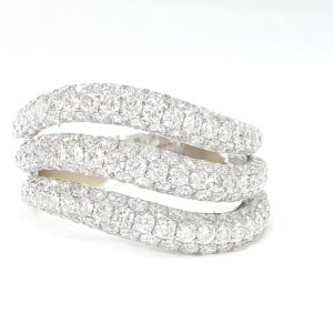 3 Row Diamonds Micro Pave Setting Wedding Band Ring