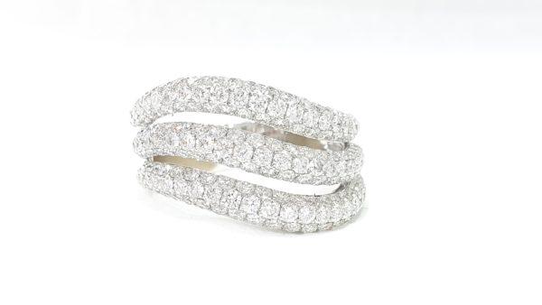 3 Row Diamonds Micro Pave Setting Wedding Band Ring