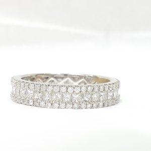 Princess & Round Brilliant Cut Diamond Eternity Wedding Band