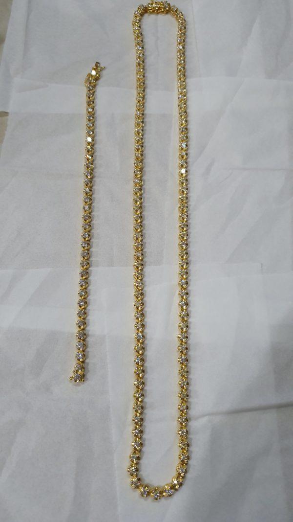 Tennis Necklace & Bracelet set 18 kt Yellow Gold