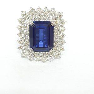 Emerald-Cut Blue Stone & Diamond Ring