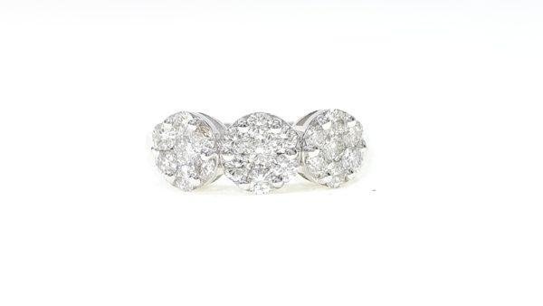 Round Cut Diamond Triple Flower Cluster Ring