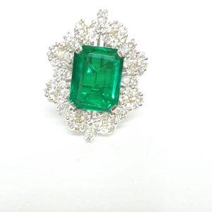 Emerald-Cut Green Stone & Diamond Ring