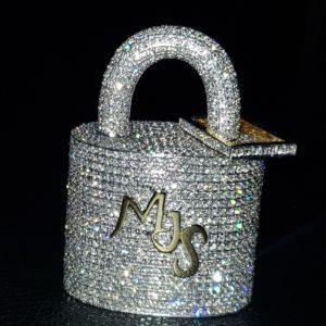 Diamond Padlock Initial Letter Pendant
