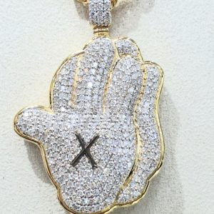 Praying Hands Diamond Pendant 18 kt & Rope Chain