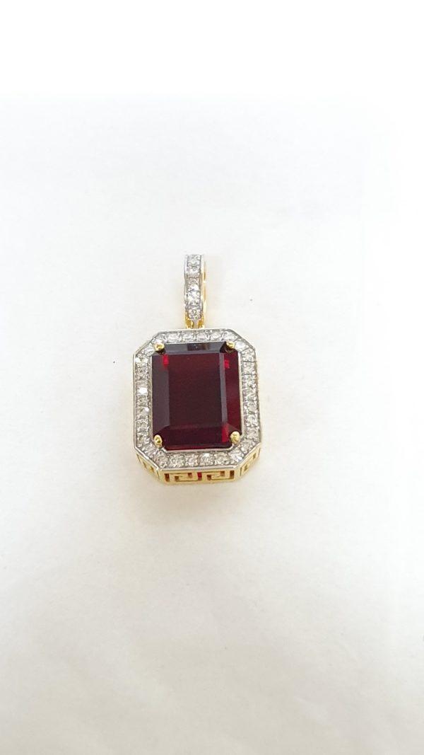Emerald Cut Garnet Stone & Diamonds Pendant
