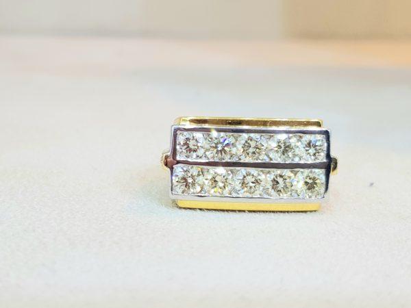 White Gold & Yellow Gold Diamonds Pinky Ring