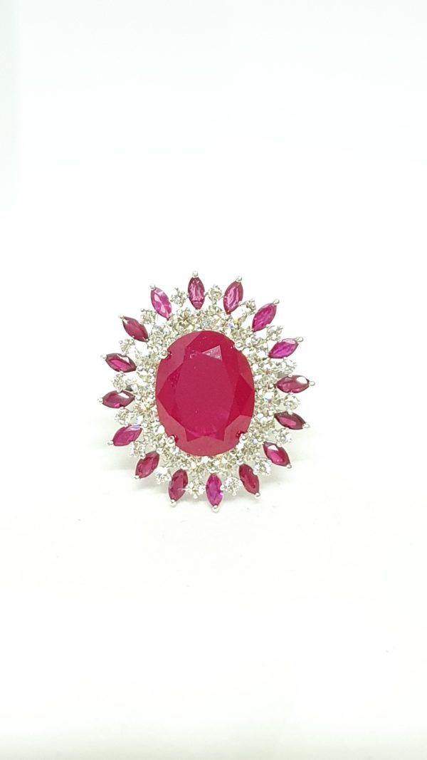 Oval-Cut Red Stone & Diamond Ring