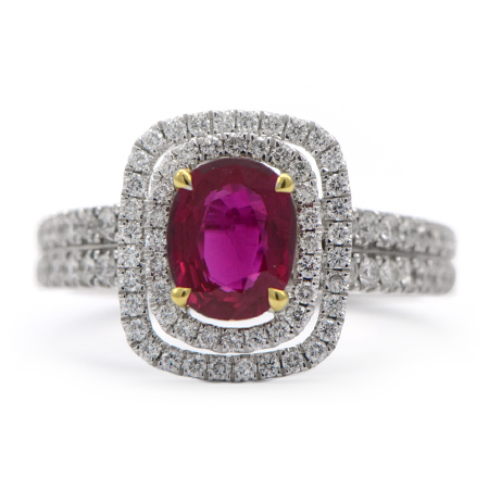 Oval-Cut Natural Ruby Diamond Ring
