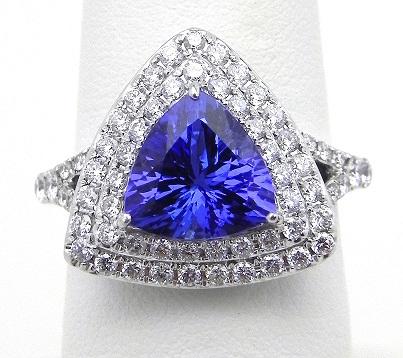 AAA Tanzanite Trillion-Cut Ring with Diamond