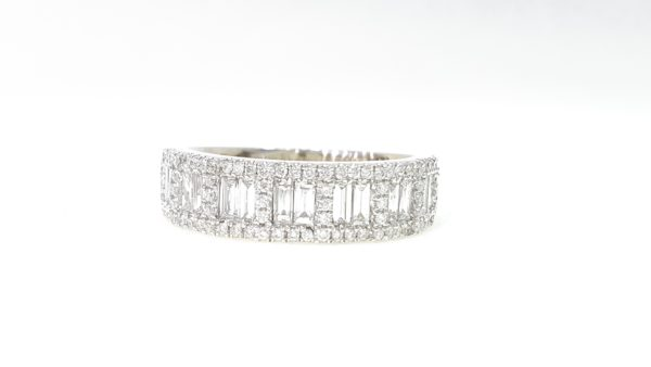 Round And Baguette Diamond Half Band Ring