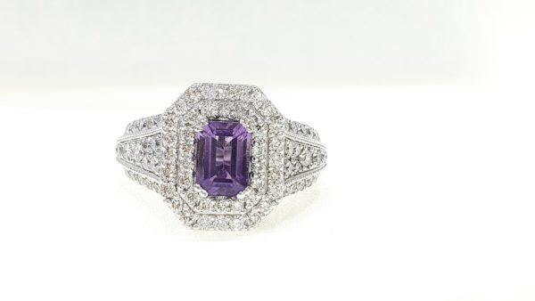 Natural Amethyst Stone & Diamond Ring