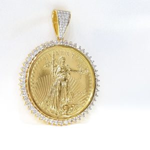 Gold Diamond Lady Liberty Coin Pendant